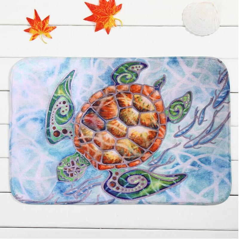 nonslip bath mat coral velvet rug shower carpet 40x60cm sea turtles cartoon mats for bathroom kitchen