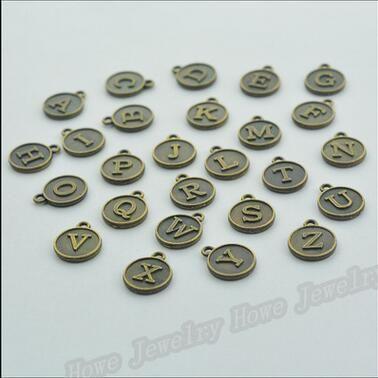 Charms Vintage MIX lettera libero di trasporto / alfabeto antiquariato del pendente d'argento / bronzo braccialetti misura la collana DIY metallo fabbricazione dei monili