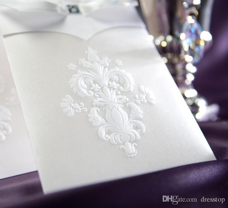 Новый Корейский Цветок Свадебные Приглашения Персонализированные Партия Печати Пригласительный Билет С Лентой Лук И Конверт Запечатанные Карты