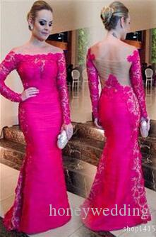Elegant Hot Pink Mermaid Women Formal Dresses Evening Wear With Long Sleeves Lace Sheer Backless Plus Size Off Shoulder Prom Gowns Cheap