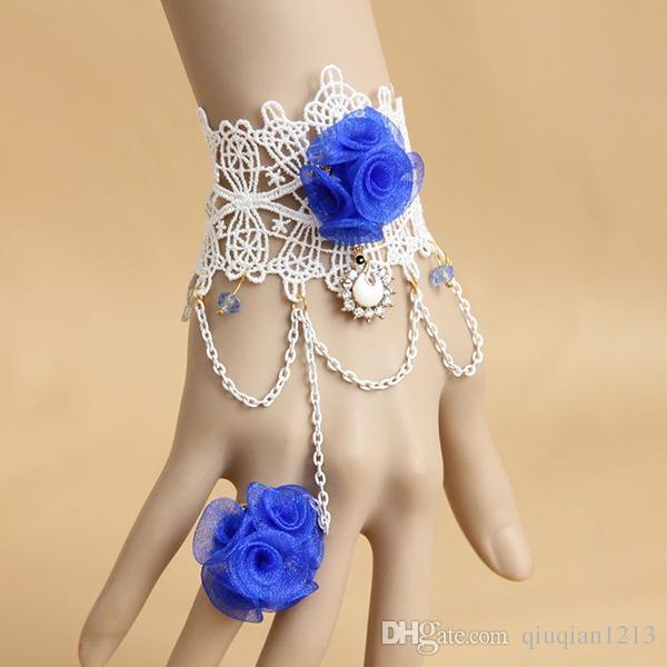 Bridal Lace Flower Show chaîne de mariage Show Bracelet Bague Définit Stage Main chaîne Fantaisie Dress Ladies Hand Charm Bracelets