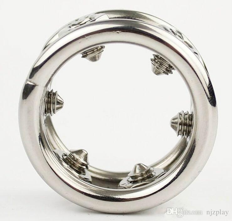 2018 New Design Stainless Steel Spikes Cock Ring Metal Penis Ring Sex Toys For Men Penis Stimulate Adult Games Sex Products