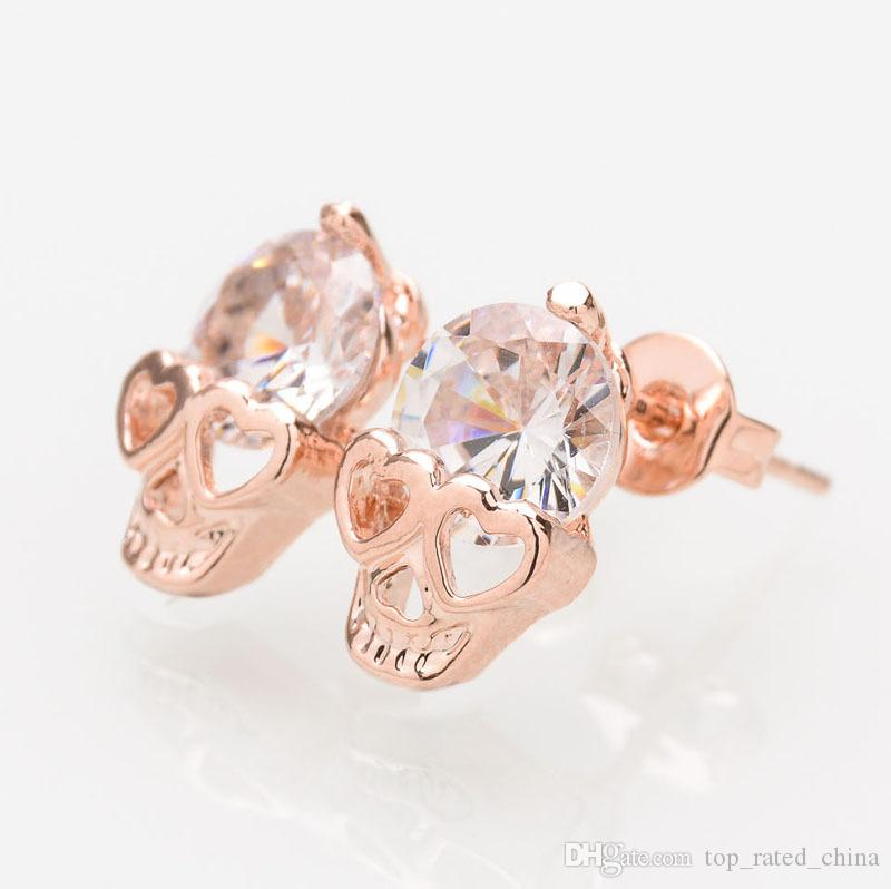 New Fashion Donna Gioielli Vintage Orecchini a bottone CZ Diamond 18K placcato oro Skull Skeleton Charm Orecchini