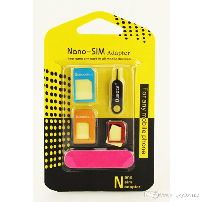 Tarjeta Nano SIM 5 en 1 de metal / Tarjeta Micro SIM / Adaptador convertidor sim estándar Adaptador para iPhone 4 todo celular con Eject Pin