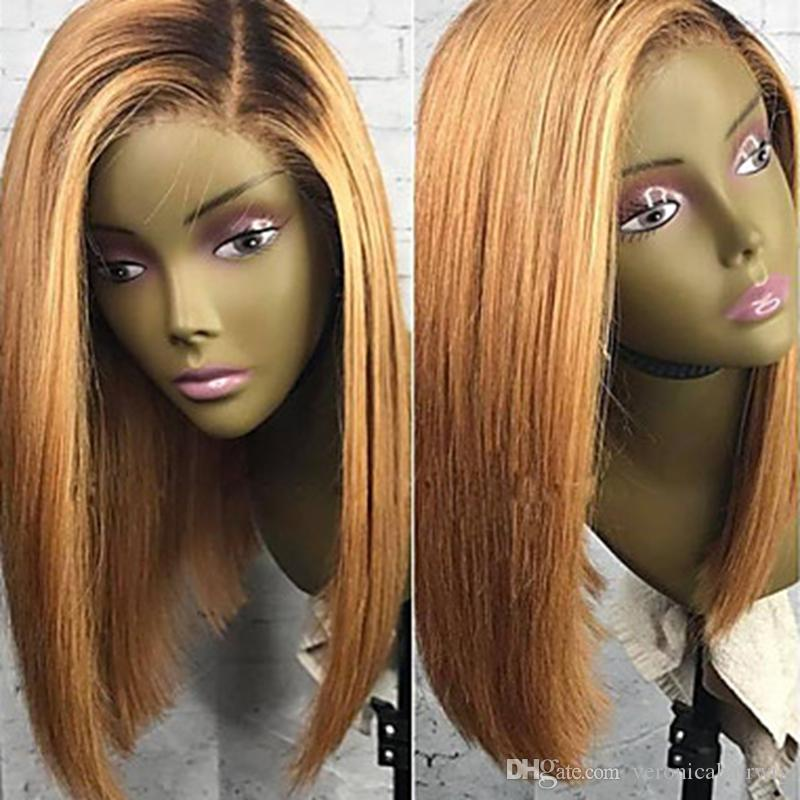 New Sexy High Quality Ombre Wigs 1B/27# Short Bob Straight Lace Front Wigs Heat Resistant Synthetic Lace Front Wigs for Black Women