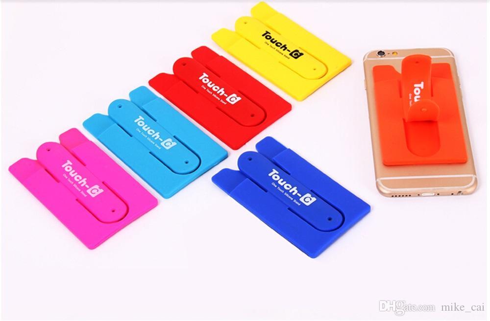 OEM Custom LOGO Universal Smart Phone Holder Portable with Card Slot Stander Bracket Mounts Stent Smart cell phone wallet credit card holder