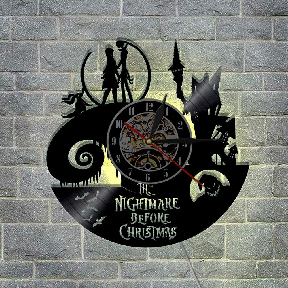 Nightmare Before Christmas Wall Clock LED Lighting Vinyl Light Jack ...