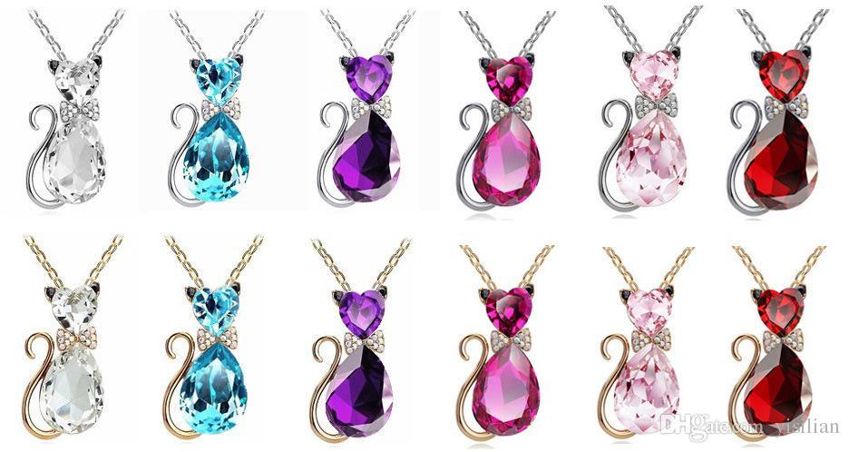 84e53376c9b 13 cores joalheria jóias presente de aniversário fofos arco gato kit colar  curto parágrafo cristal acessórios YP072 artes e artesanato pingente com  corrente