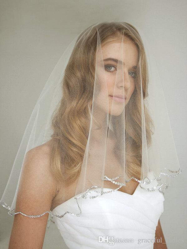 Rhinestone Wedding Veil with Blusher Drop Veils Old Hollywood Inspired Gorgeous Rhinestone Veil Audrey Hepburn Scallop Edge Bridal Veil