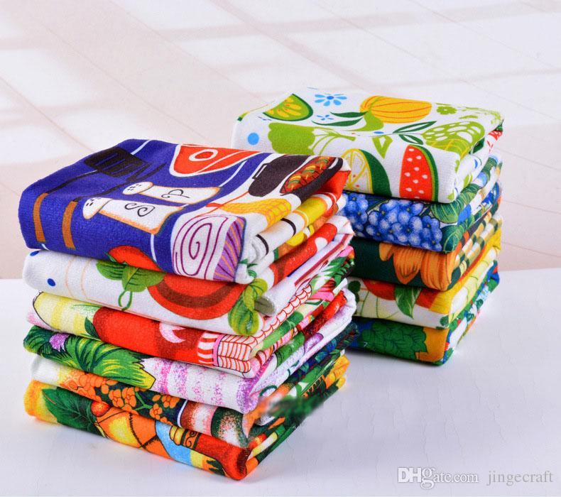 Hot Sale Kitchen Towel Dish Cleaning Cloth 10pcs Lot Microfiber Absorbent Colorful Reactive Printed Tea Towels Cooking Tools