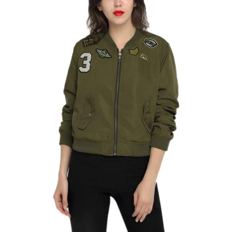 Wholesale Army Green Women Bomber Jackets Girl Coat Flight Suit ...