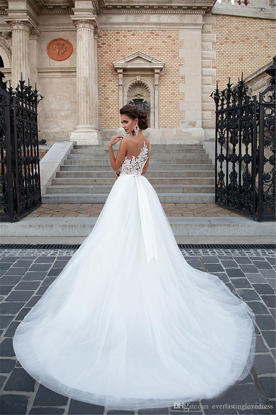 A-Line Applique Dentelle et couleur Nude à l'intérieur d'une ligne Robe de mariée élégante Tulle Tulle Beltte Robe de mariée Vestido de Noiva