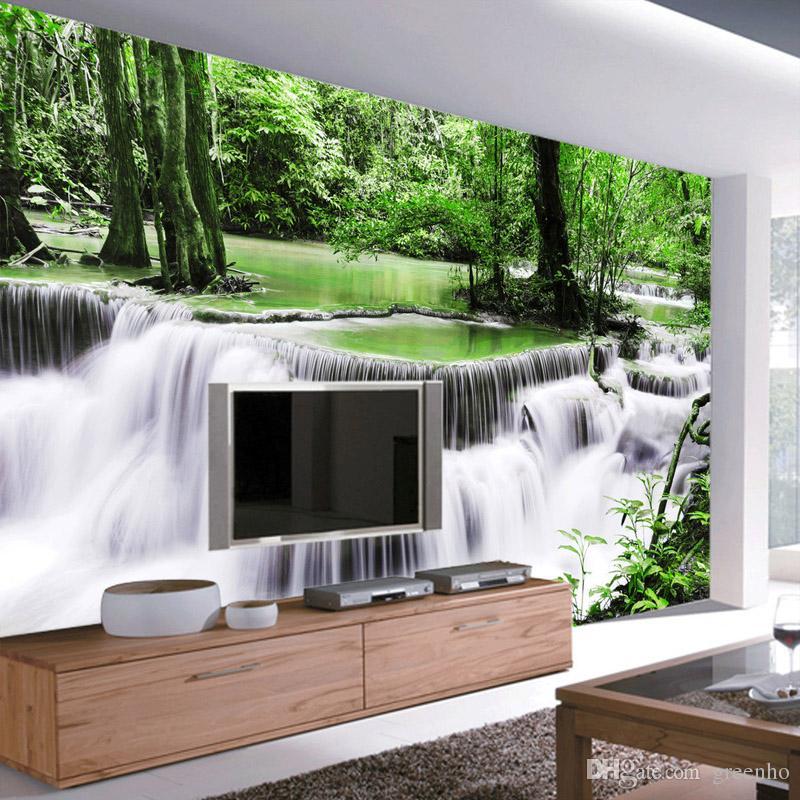 Großhandel Paradise Fototapete Wald Wasserfall Wandbild ...