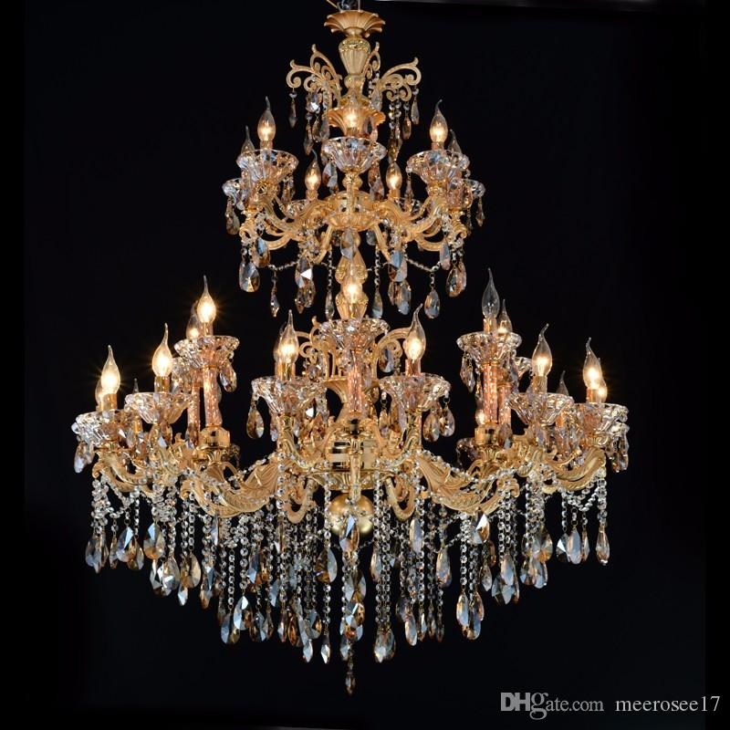 Large 3 tiers gold crystal chandelier lighting big cristal lustres large 3 tiers gold crystal chandelier lighting big cristal lustres light fixture 28 arms chandelier crystal for hotel md2117 wood chandelier chandelier lamp aloadofball Image collections
