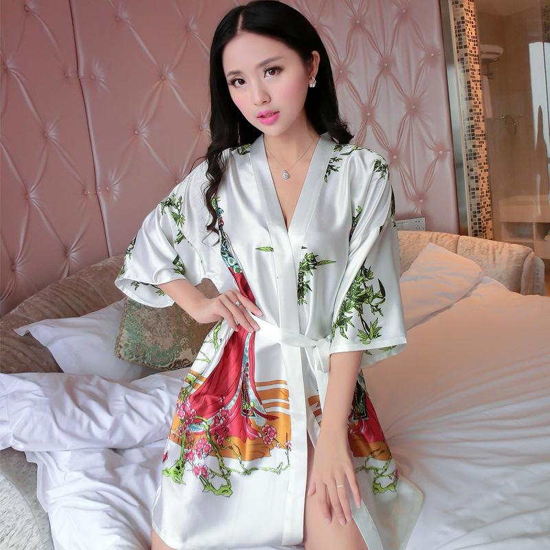 064c9c7b86 2019 Wholesale New Arrival Chinese Women Summer Silk Sleepwear Sexy Mini  Robe Dress Printed Kaftan Bath Night Gown Flower One Size J05 From Cadly,  ...