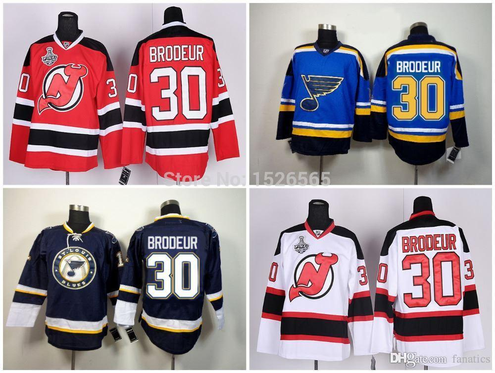 new style d4f2c 7e254 2016 Cheap Men's New Jersey Devils #30 Martin Brodeur Jersey Black RED  Lacing Neck Vintage Sewn authentic NY Devils Hockey Jerseys