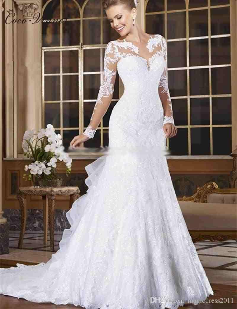 CV Long Sleeve Appliques Beaded Mermaid Wedding Dress Illusion Sheer Neck Lace Style Fish Tail Bridal Gown Beautiful Dresses