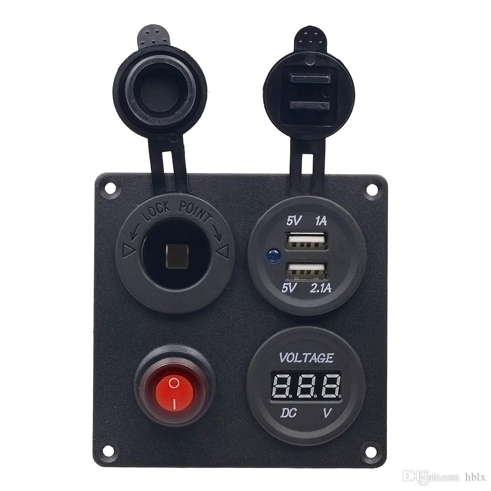 5V 3.1A Aluminium Plate Independent Switch Dual USB Combination Panel with Voltmeter for Car Truck Boat CEC_62V