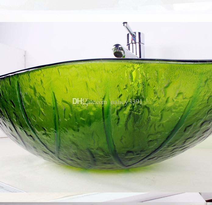 Glass wash basin oval shape green leaf pattern applies to the bathroom sink and toiletBW140186