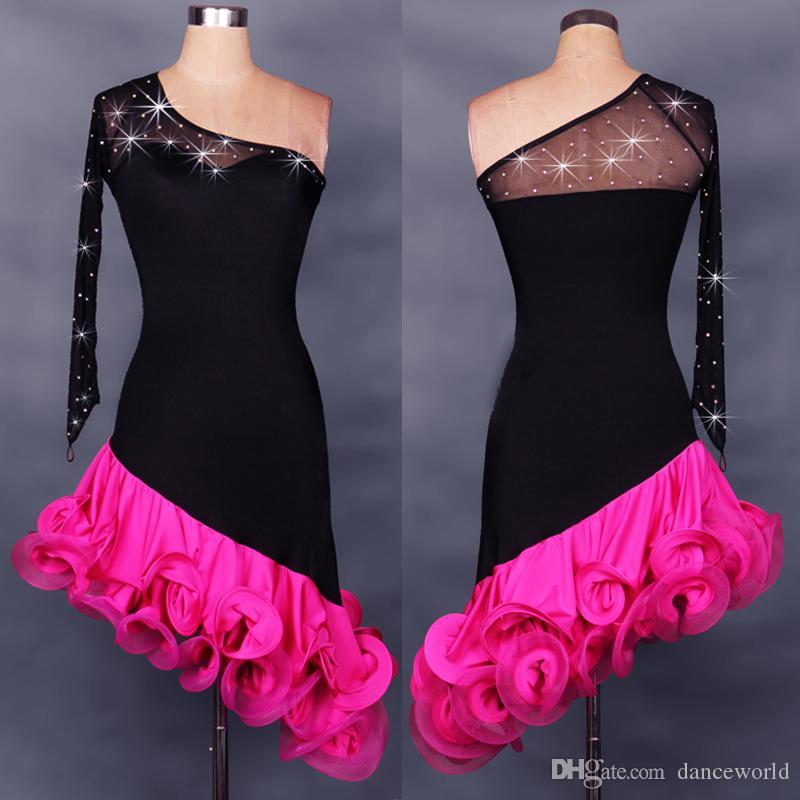 2018 New Adulto / Bambini One Maniche Abiti Da Ballo Latino Rosso / Rosa Costume di Ballo Latino Le Donne / Ragazze Salsa Abiti Performance Dancewear