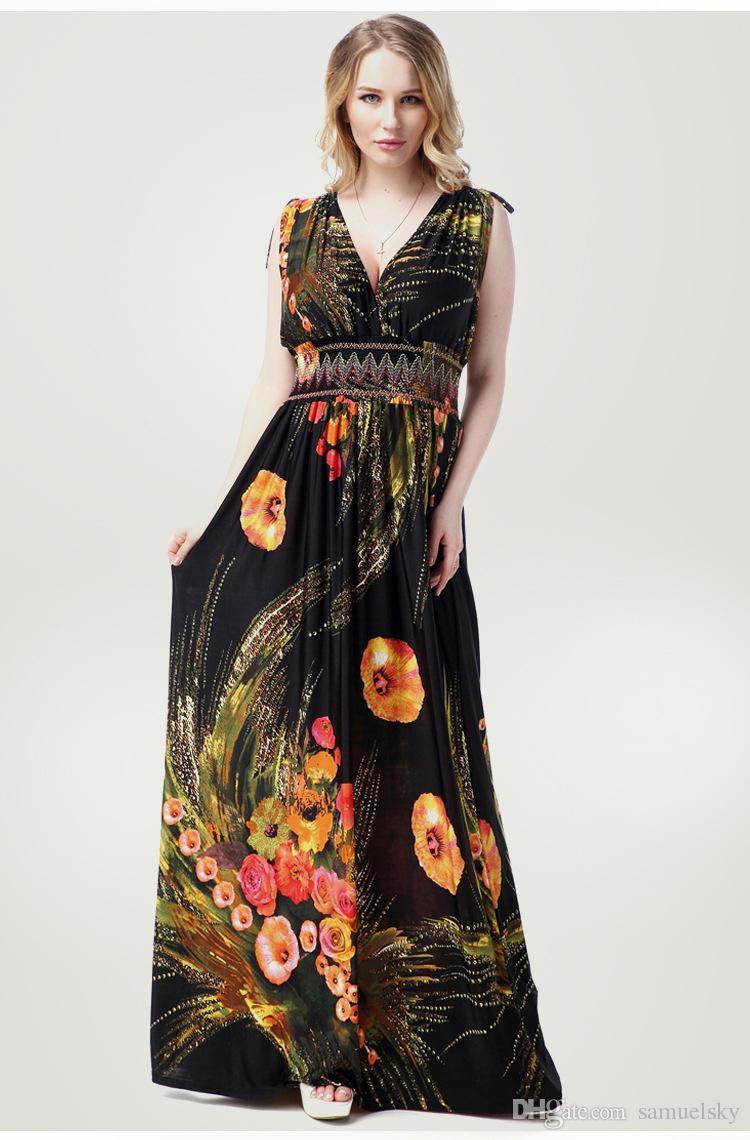 be599fb62df0b Fashionable Bohemia Summer Holiday Beach Dress Women Deep V Neck ...