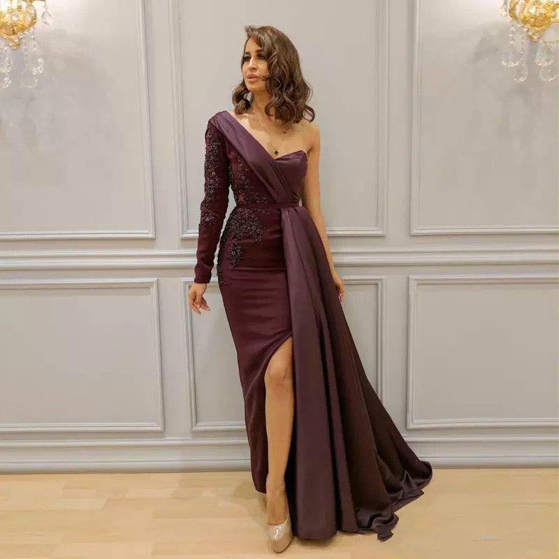 부르고뉴 아라비아 드레스 저녁 착용 한 어깨 아플리케 비즈 스플릿 사이드 공식 드레스 슬리브 바닥 길이 즈 헤일 뮤 라드 롱 프롬 가운