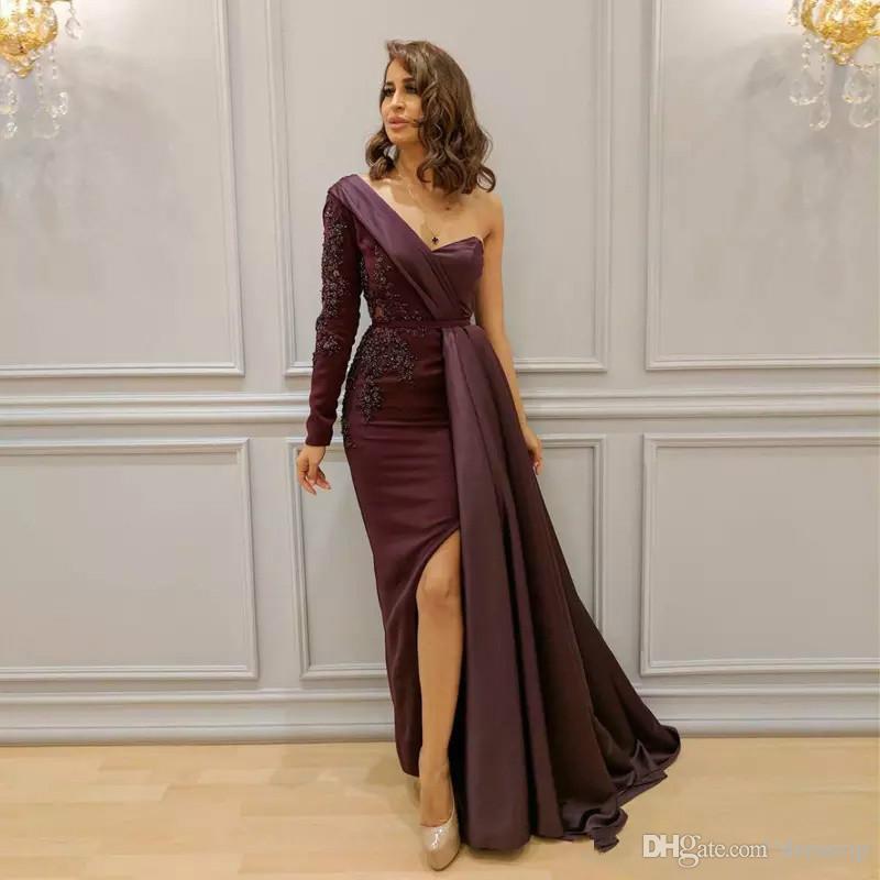 Vestidos árabes de Borgoña Ropa de noche Un hombro Apliques Abalorios Lado dividido Vestido formal Mangas Hasta el suelo Zuhair Murad Vestidos de baile largos