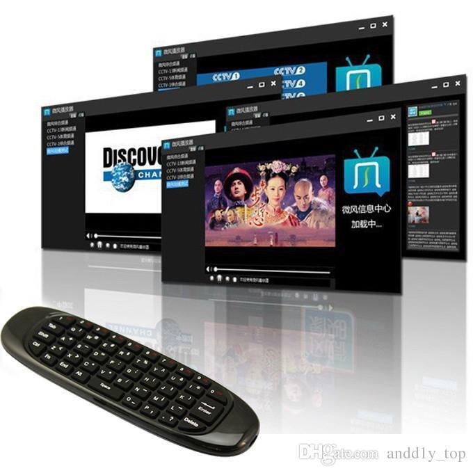 Gyroscope Fly Air Mouse C120 Clavier de jeu sans fil Android Télécommande Clavier rechargeable pour Smart TV Mini PC