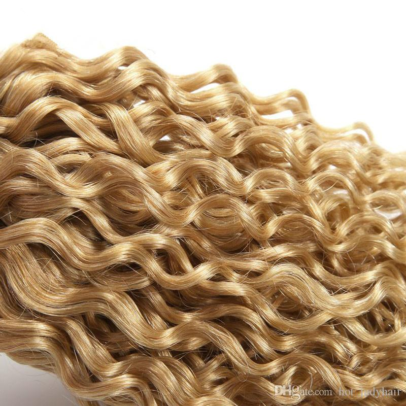 #1B/27 Dark roots Honey Blonde Ombre Hair Deep Curly Malaysian Hair Bundles Two Tone Malaysian Curly Hair Weaves