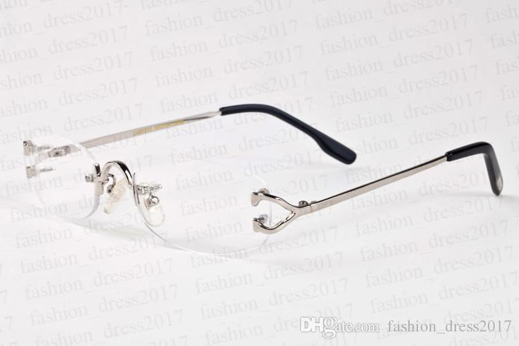 nouvelles lunettes de soleil de sport de mode pour les hommes Cadre carré cerclées lunettes de corne de buffle de verre transparent de lunettes de soleil en métal argenté or vintage surdimensionné