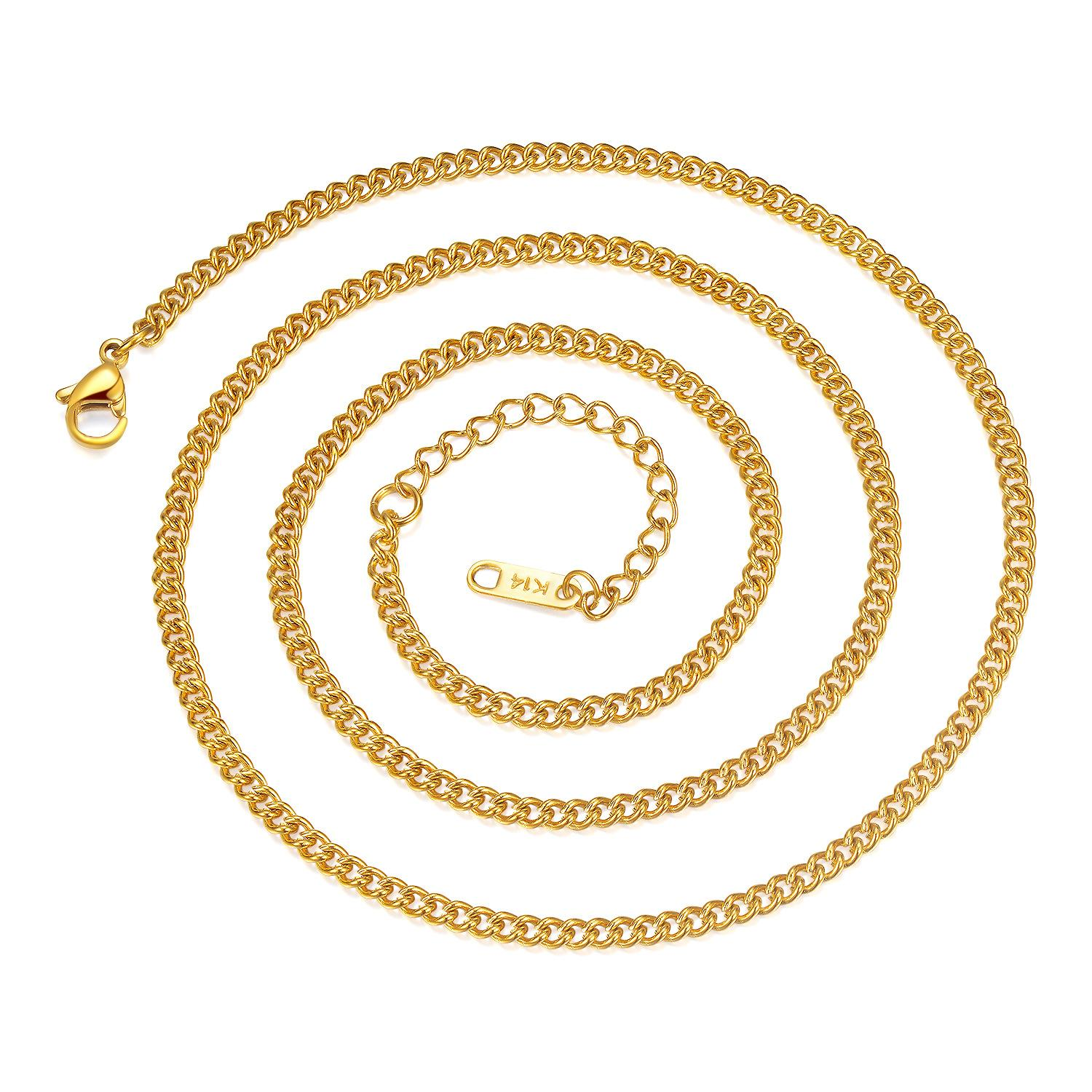 bracelet link store plated for gold mens style cuban basic product real necklace men chains