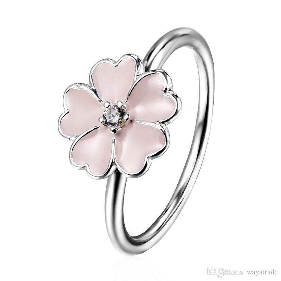 Online Cheap Wholesale Pink Enamel Flower Zircon Ring European 925