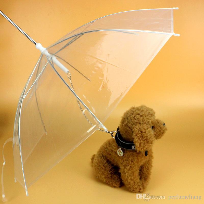 Utile Transparent PE Parapluie pour Animaux Domestiques Petit Chien Parapluie Vêtements de Pluie avec Laisse pour Chien Garde l'animal Sec au Pluie sous la Neige WA1287