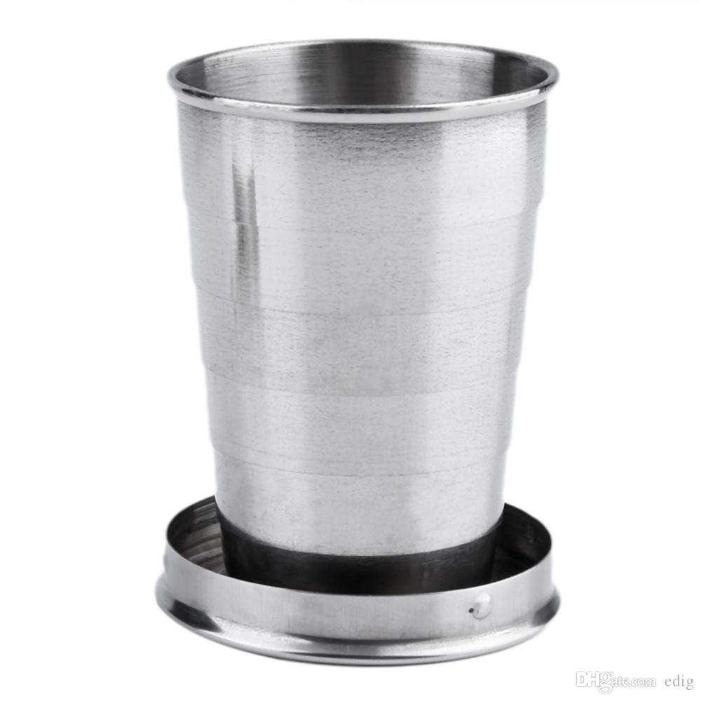 Stainless Steel Portable Outdoor Travel Camping Folding Foldable Collapsible Cup 75ml