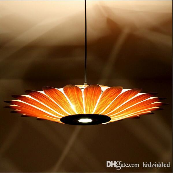 Southeast asian simple leather led pendant lamp creative style southeast asian simple leather led pendant lamp creative style wooden lighting yellow sunflower shape e27 bulb light fixture hanging lights for bedroom aloadofball Image collections