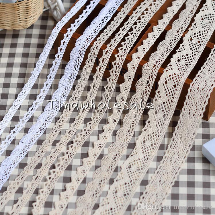 Mode-Stile 100% Baumwolle Häkeln Baumwollspitzenbesatz Baumwollöse-Spitzen-Band-Trim für Baby-Haar-Accessoire 30Yards /