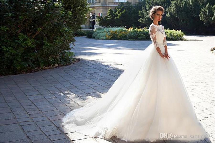 Bateau с половиной рукава жемчуг белый тюль свадебные шариковые платья дешевые свадебные платья скромные винтажные кружевные свадебные платья Millanova