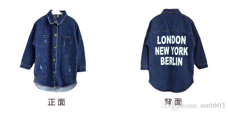 New Baby Girls Jeans Coat Kids London New Yowk Berlin Letter Printed Long Tops Shirt Denim Coat Children Outerwears Trench Coats Blue