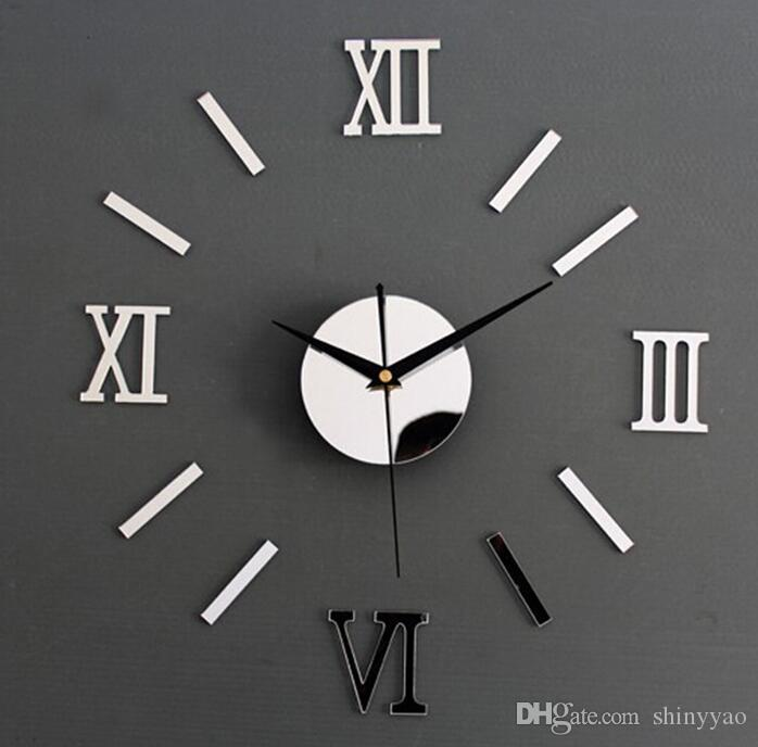 Relógio numeral romano | relógios | Moderna sala de estar mudo criativo diy adesivos de parede relógio de parede acrílico