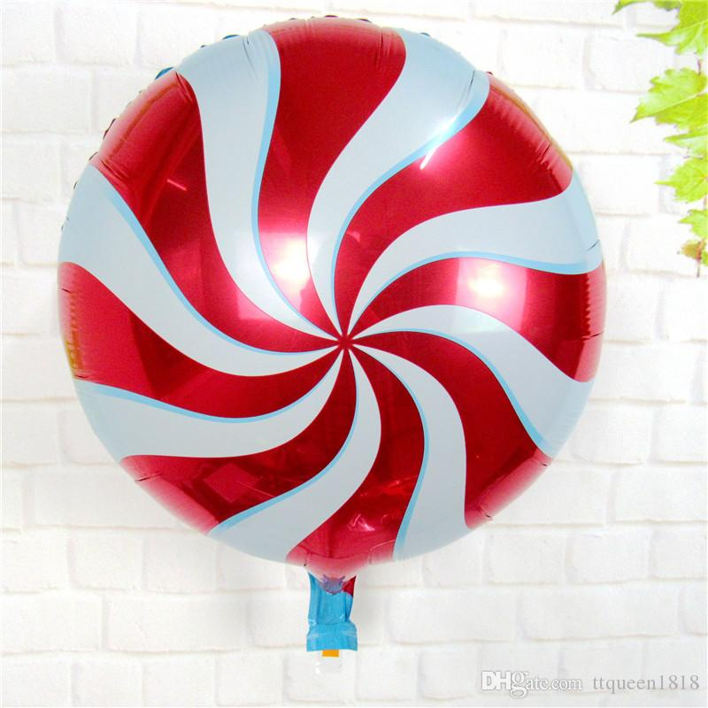50pcs/lot 18inch round aluminum foil balloons wedding birthday party supplies children's toys decoration aluminum Candy lollipop balloons
