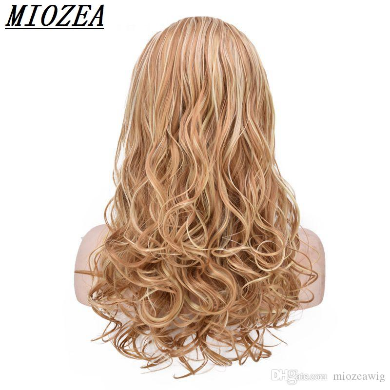 24inch Long Curly Synthetic Hair High Temperature Fiber Golden brown 3/4 Half For Women