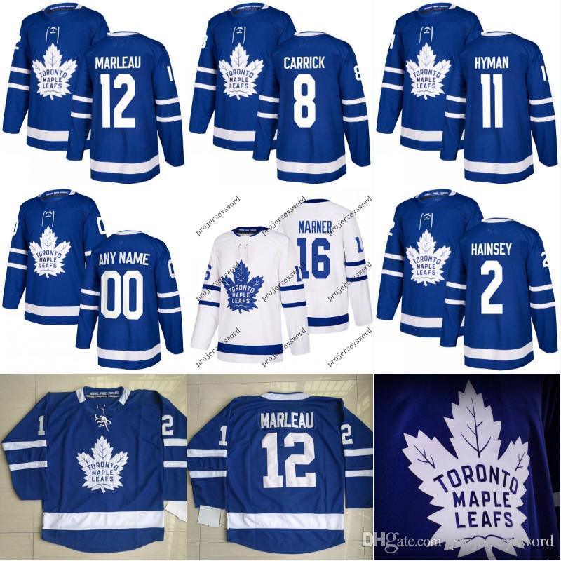 sale retailer ab650 8770b Toronto Maple Leafs Jersey 2 Ron Hainsey 8 Connor Carrick 11 Zach Hyman 12  Patrick Marleau Custom Hockey Jerseys White Blue