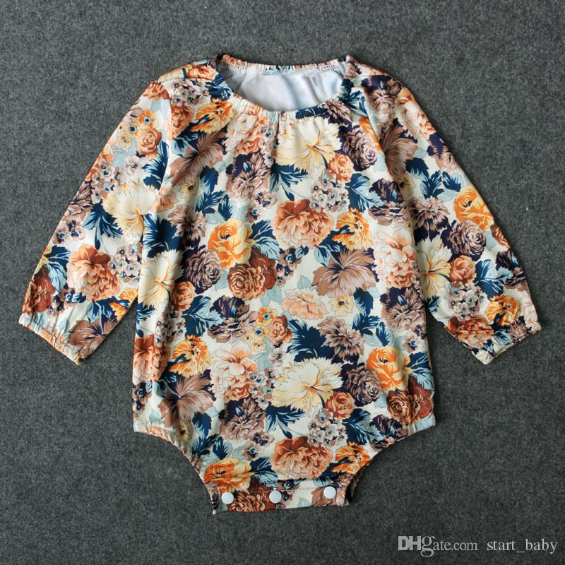 Baby girls retro flower pattern romper chic infants floral cloth long sleeve onesie elastic collar ins hot for 0-2T B11