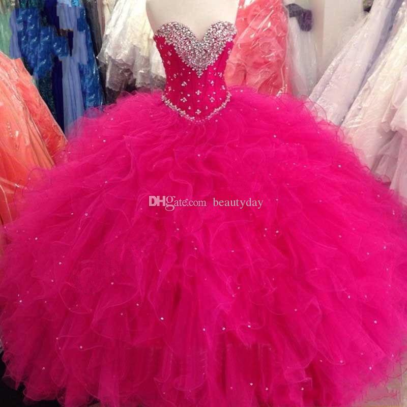 Quinceanera Kleider 2019 Prinzessin Ballkleid Rot Lila Sweet 16 Kleider Perlen Pailletten Lace Up Kleider Rüschen Plus Size Vestidos De 15