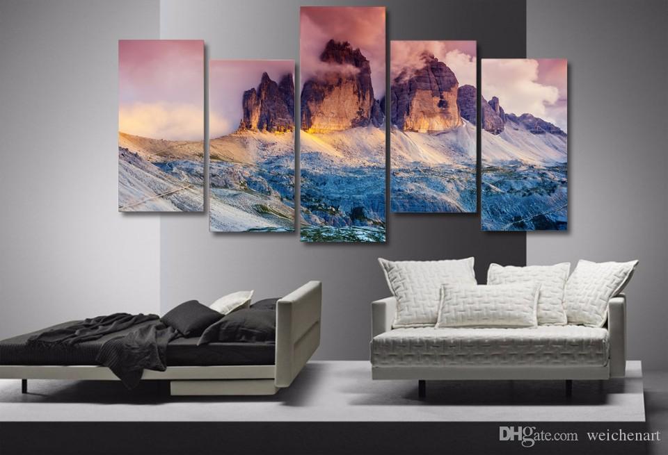 5 del pannello HD Stampato Nebbia Austria Montagna tela Stampa Room Decor Stampa pittura poster Picture Canvas muro
