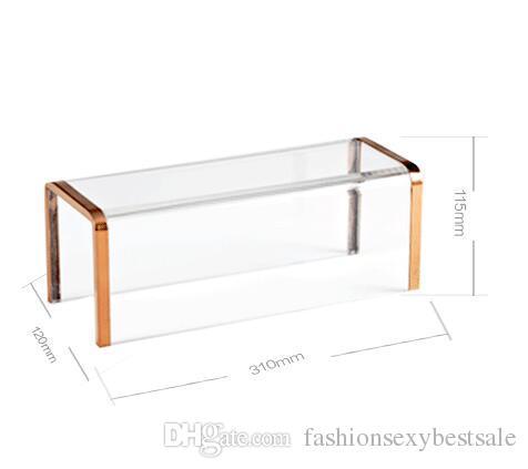 Großhandel edelstahl transparent licht gold schaufensterpuppen taschen schuhe hocker display fenster requisiten für schuhe bekleidungsgeschäft 1 stück c202
