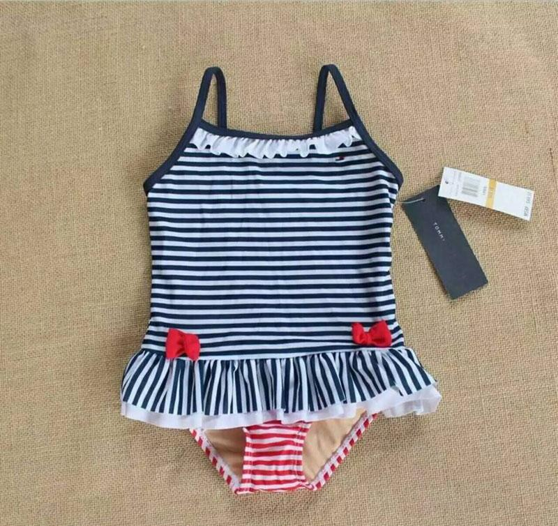 8f76351f353 2019 0 1Y Infant Swimwear Striped Girls Badmode Baby TH Baby Ruffle One  Piece Swimsuit, Navy White With Red Bow Zwembroek Swimwear From Lucenyu007,  ...