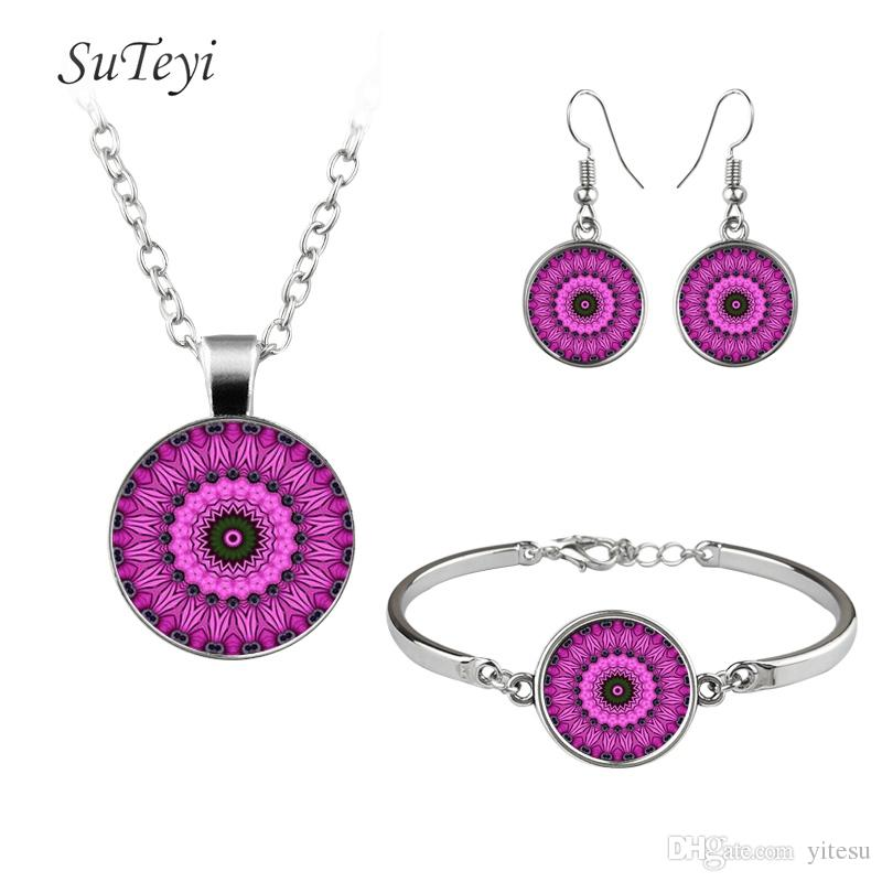 2017 Trendy Print Art Picture Glass Necklace Adjustable Size Bracelet Mandala Hooks Earrings Buddhist Necklaces Jewelry Sets