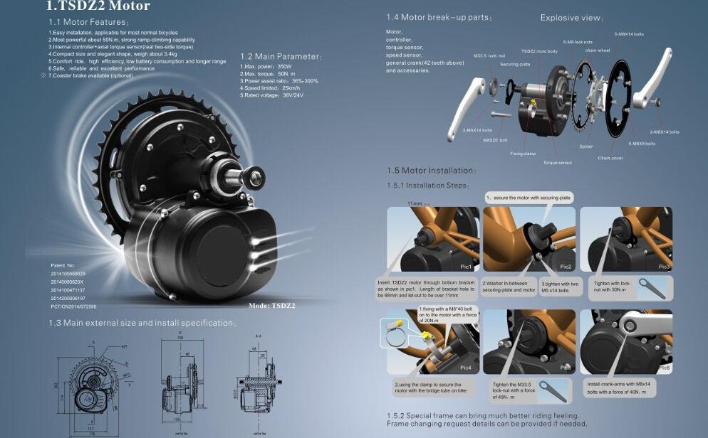 새로운 버전 토크 센서 36V 350W 42T Chainwheel 전기 자전거 TSDZ2 중앙 중앙 모터 변환 Ebike 키트