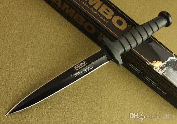 выживания Rambo двойного действия Прямой нож боевой нож охотничий нож Рэмбо Открытый кемпинга ножи с первоначально коробкой упаковки